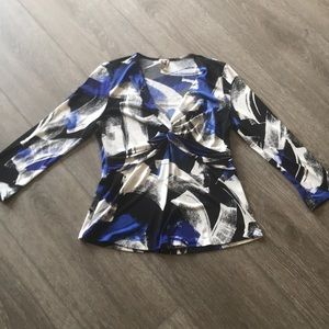 Anne Klein shirt blue top size large 3/4 sleeve